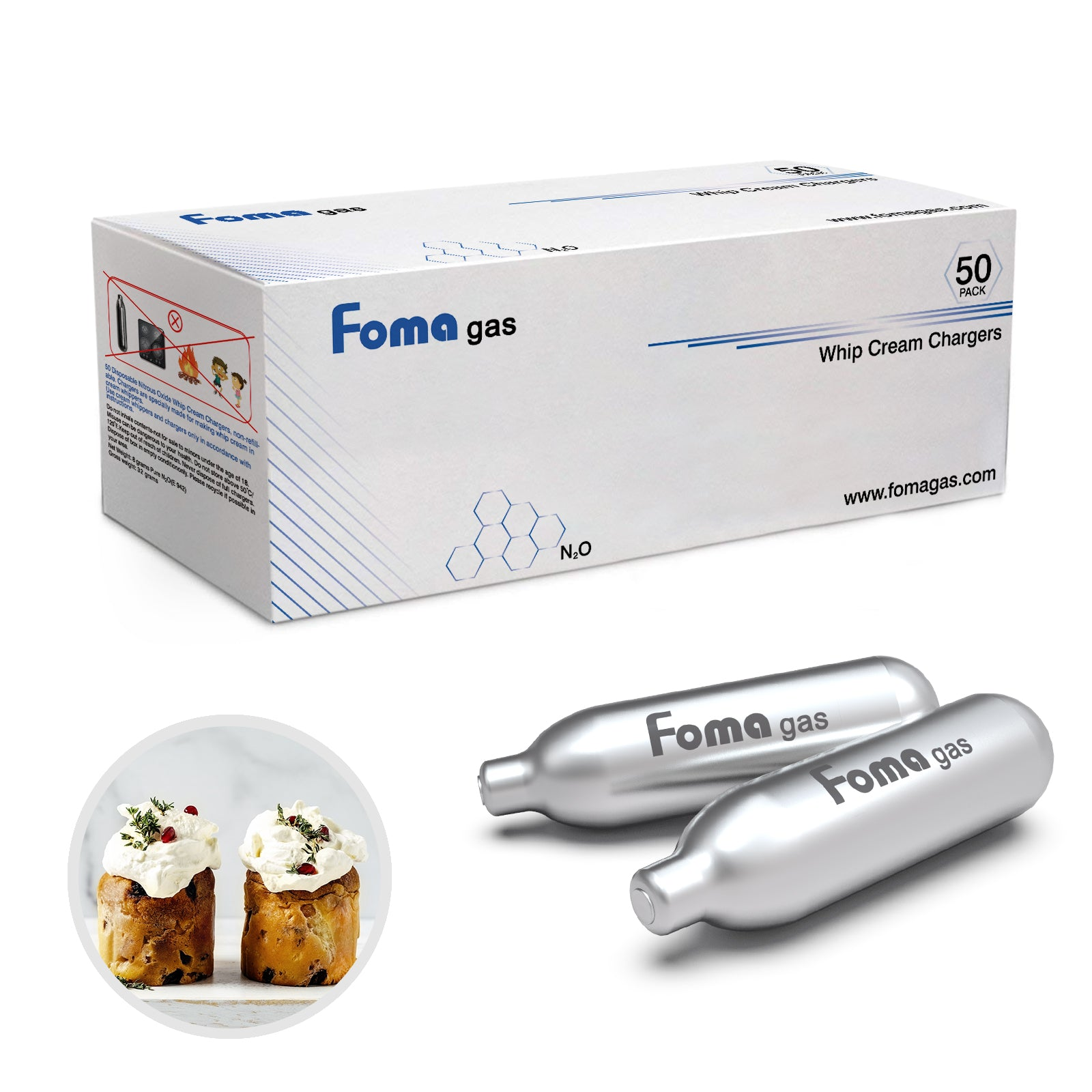 FomaGas 8g N2O Whipped Cream Chargers 300 Packs