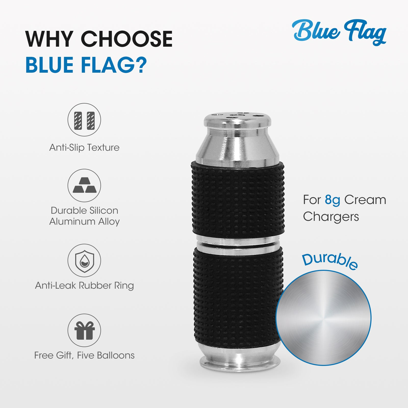 Portable Blue Flag Silver Whipped Cream Dispenser Safe Gas Canister Dispenser (1-Pack)