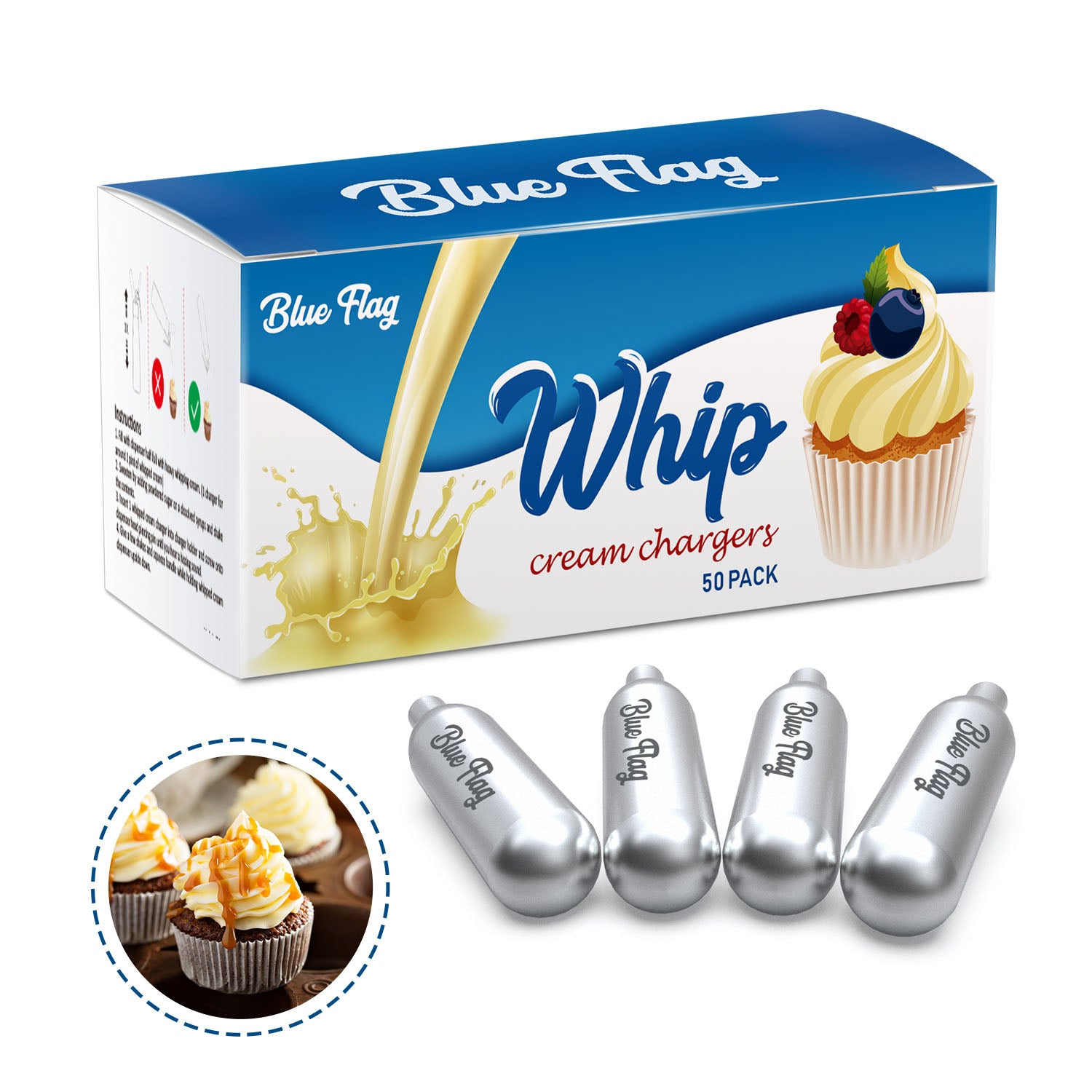 BlueFlag 8g N2O Whipped Cream Chargers  500 Packs