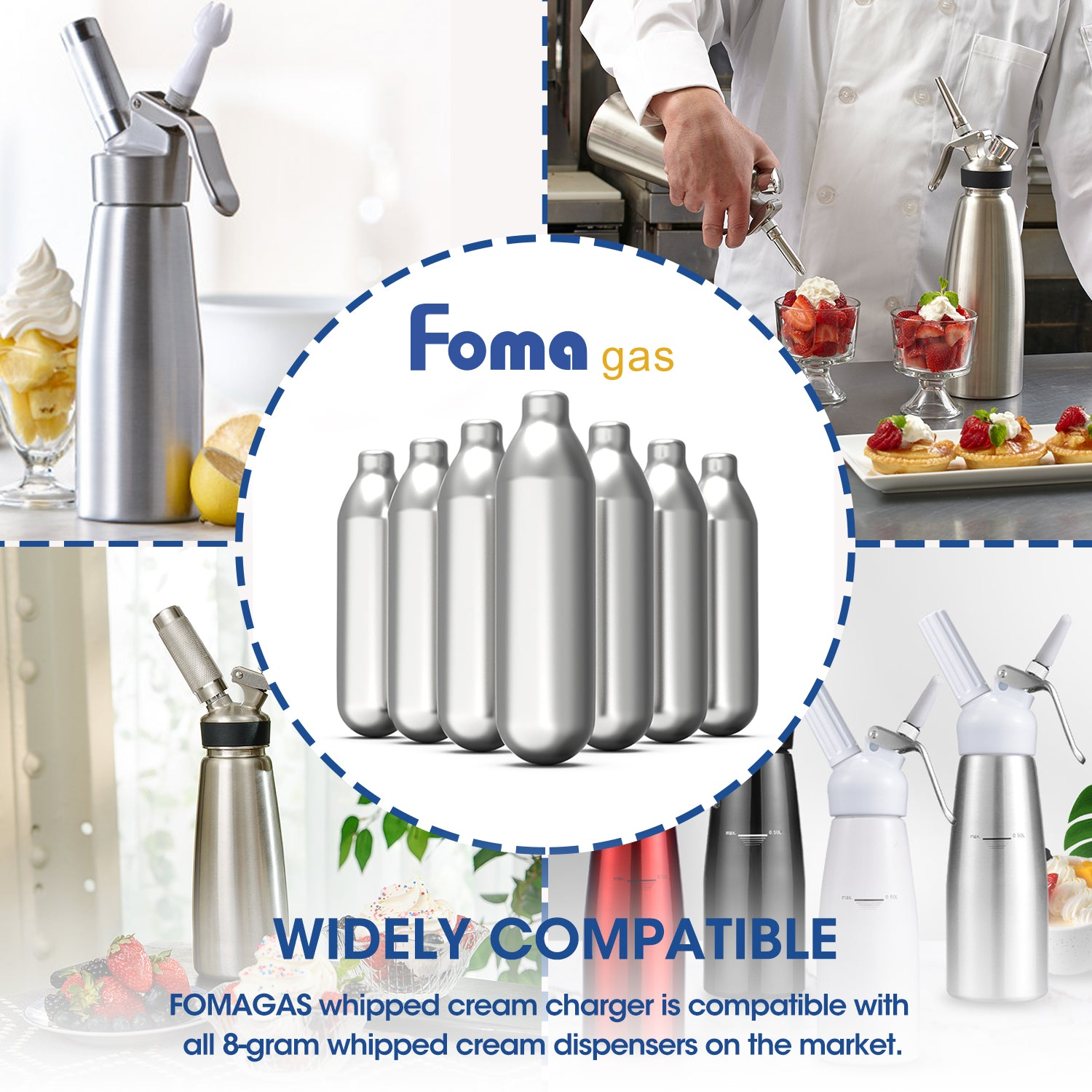 FomaGas 8g N2O Whipped Cream Chargers 120 Packs