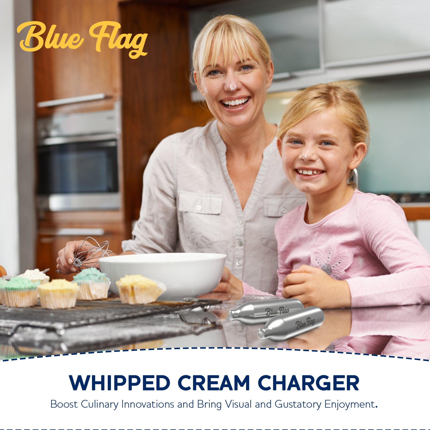BlueFlag 8g N2O Whipped Cream Chargers 120 Packs