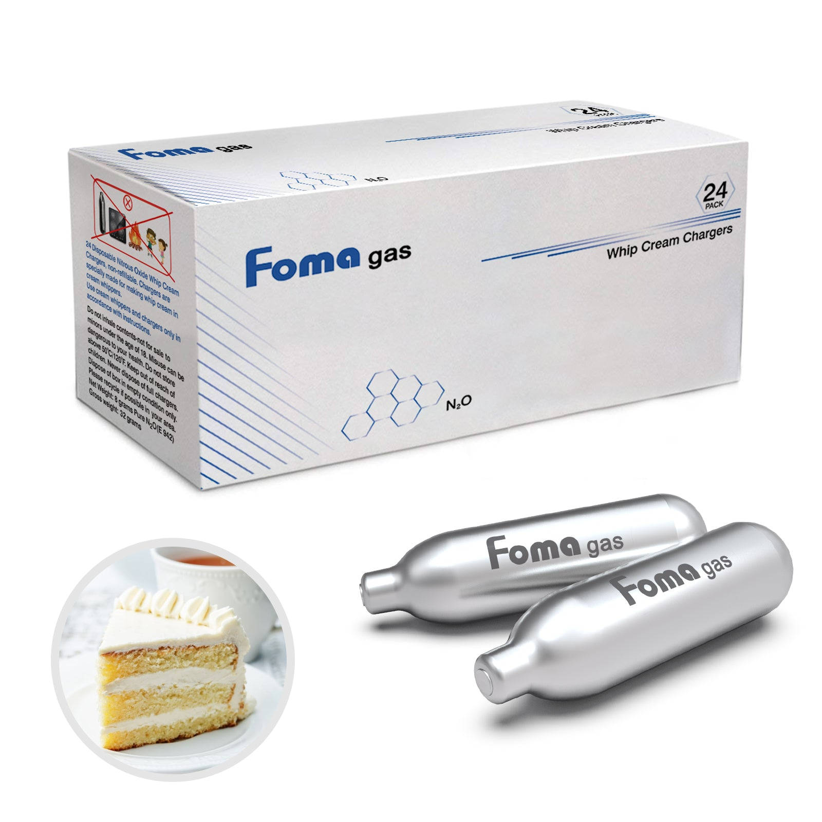 FomaGas 8g N2O Whipped Cream Chargers 96 Packs