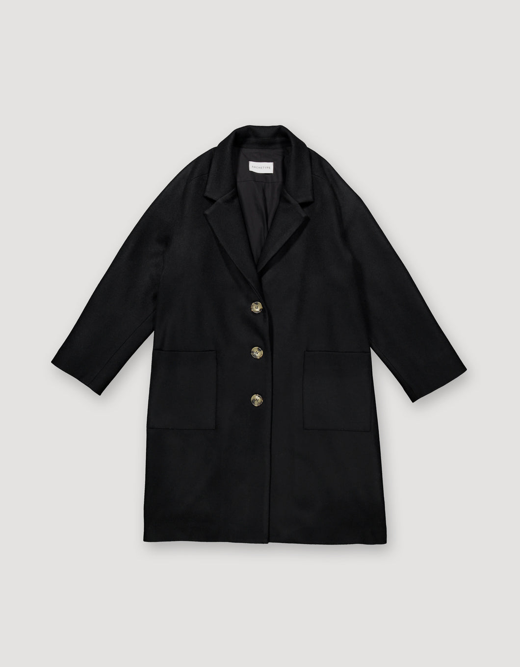 LOOSE WOOL OVERCOAT(BLACK)
