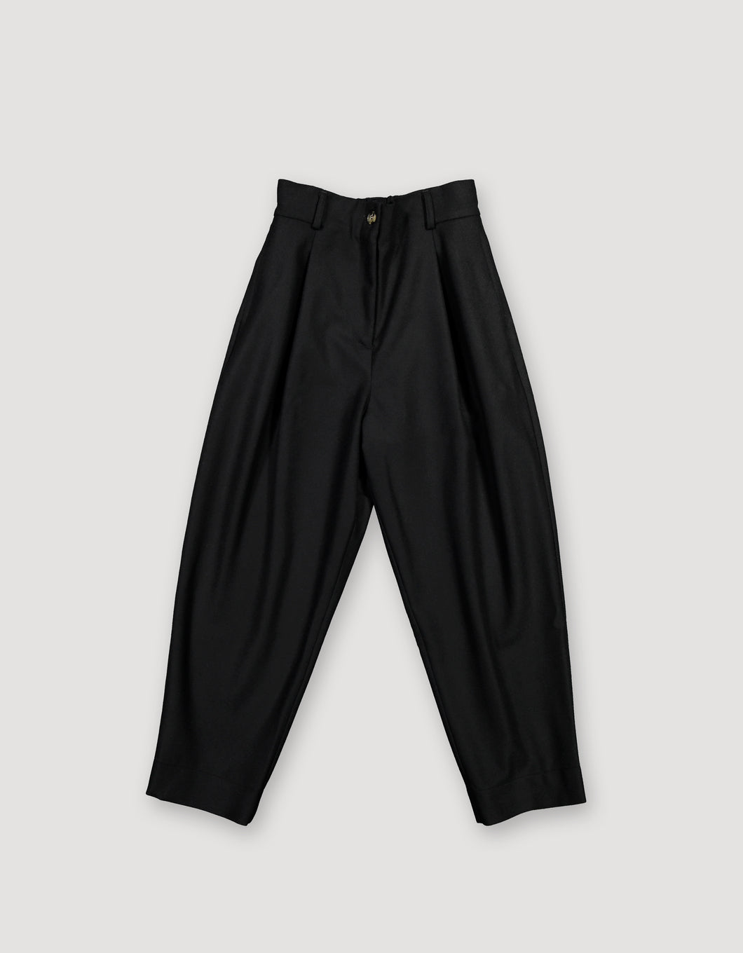 PLEATED WOOL TROUSERS (BLACK)