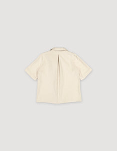 SHORT SLEEVE CORDUROY BLOUSE (NATURAL WHITE)