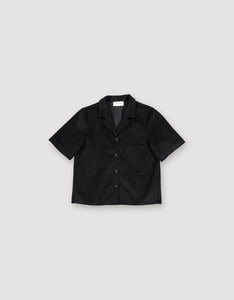 SHORT SLEEVE CORDUROY BLOUSE (BLACK)
