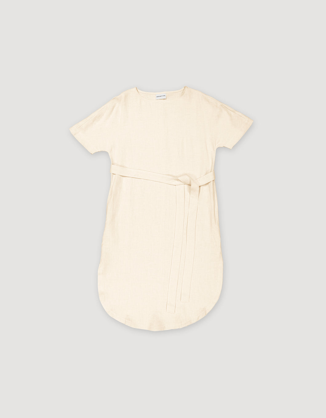 T-SHIRT DRESS WITH BELT (ECRU)