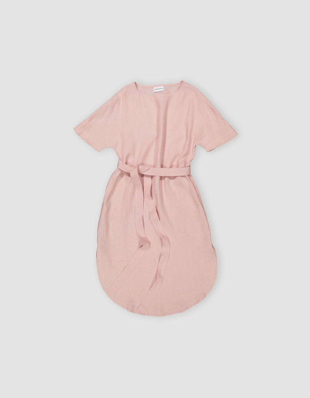 T-SHIRT DRESS WITH BELT (FADED PINK)