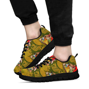 Geisha Japanese Dragon Print Sneakers