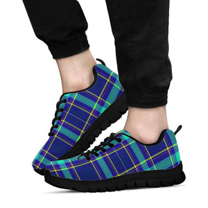 Blue Plaid Tartan Print Sneakers