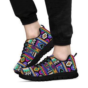 Multicolor Native Aztec Doodle Element Sneakers