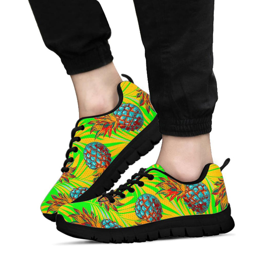 Neon Pineapple Hawaiian Print Sneakers