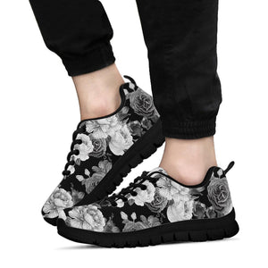 Monochrome Rose Floral Sneakers