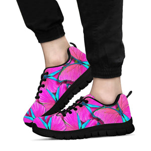 Pink And Blue Butterfly Print Sneakers