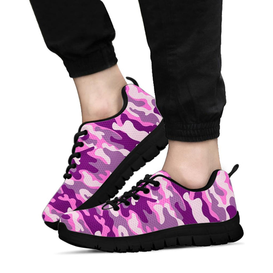 Pink Camouflage Print Sneakers