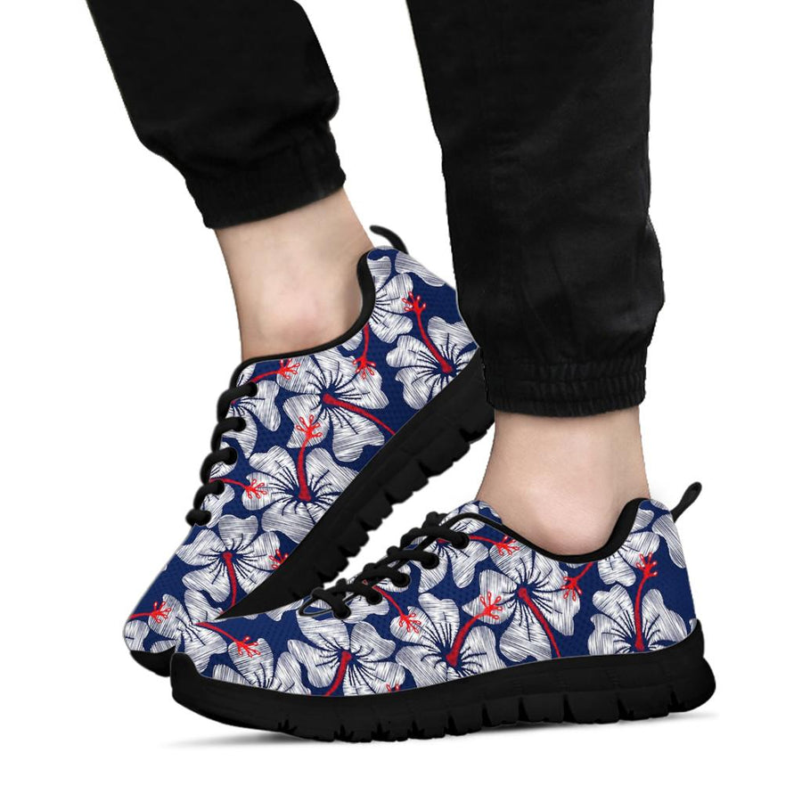 White Hibiscus Tropical Floral Hawaiian Print Sneakers