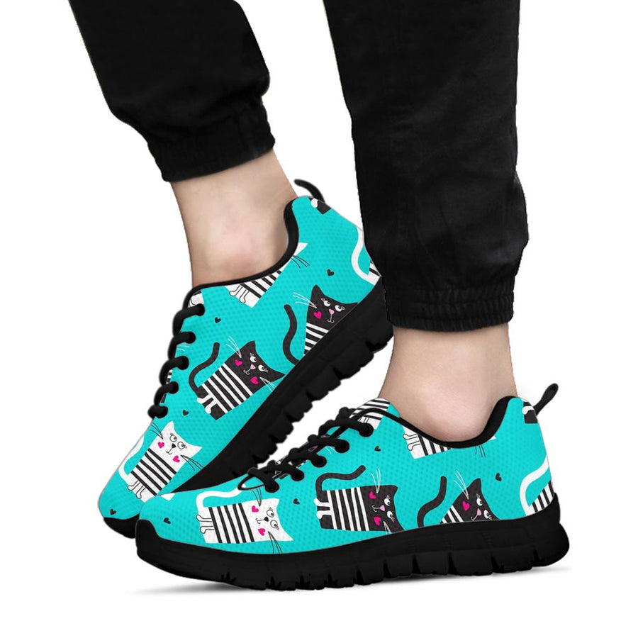 Love Turquoise Cat Print Sneakers