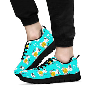 Blue Cat Print Sneakers