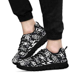 White And Black Graffiti Doodle Text Print Sneakers
