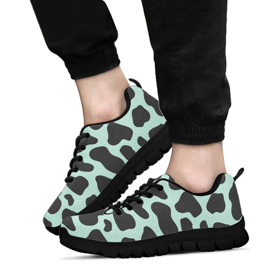 Black And Green Cow Print Sneakers