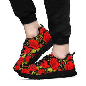 Red Rose Floral Sneakers