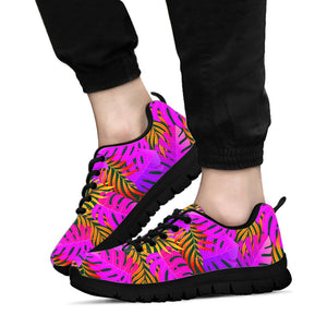Neon Palm Leaf Edm Print Sneakers