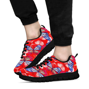 Red and Blue Butterfly Print Sneakers
