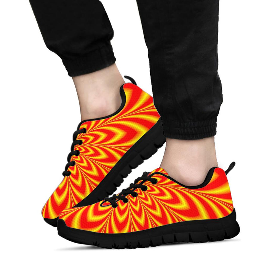 Red and Yellow Abstract  Optical illusion Sneakers