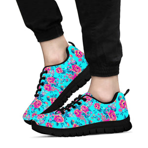 Pink And Blue Rose Floral Sneakers