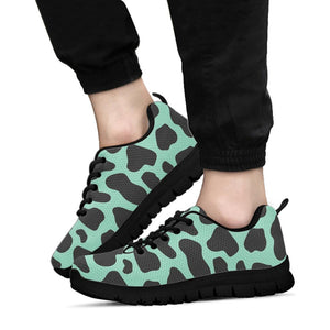 Black And Teal Cow Print Sneakers