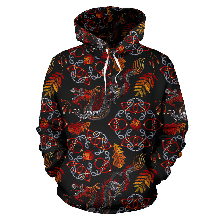 Embroidery Japanese Dragon Print Hoodie