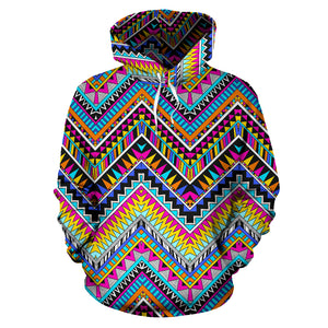Multicolor Zigzag Indian Aztec Hoodie