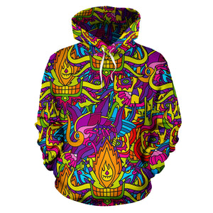 Hippie Flame Psychedelic Trippy Hoodie