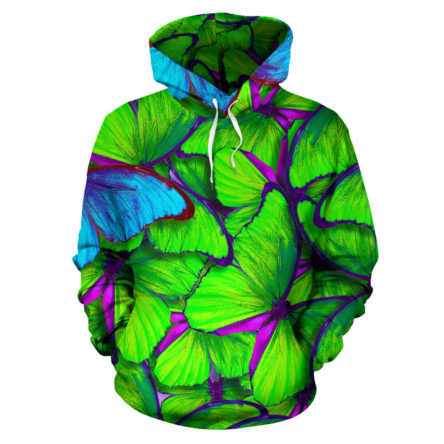 Green And Blue Butterfly Print Hoodie