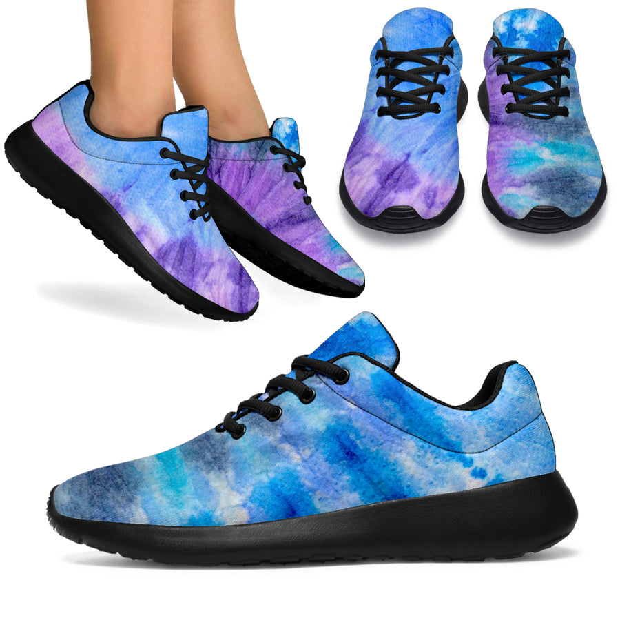 Black And Blue Tie Dye Running Shoes
