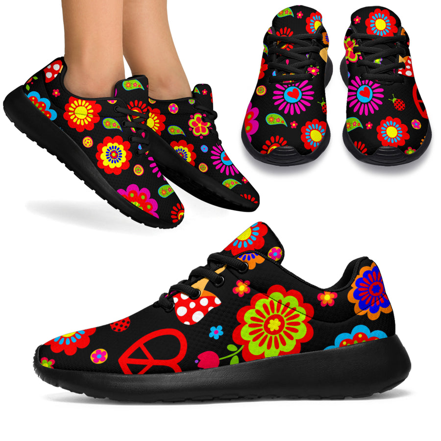 Abstract Flower Hippie Running Shoes