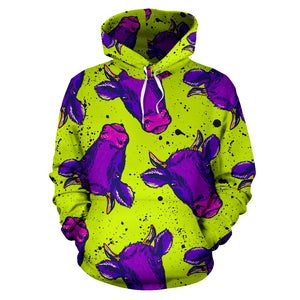 Abstract Neon Cow Print Hoodie