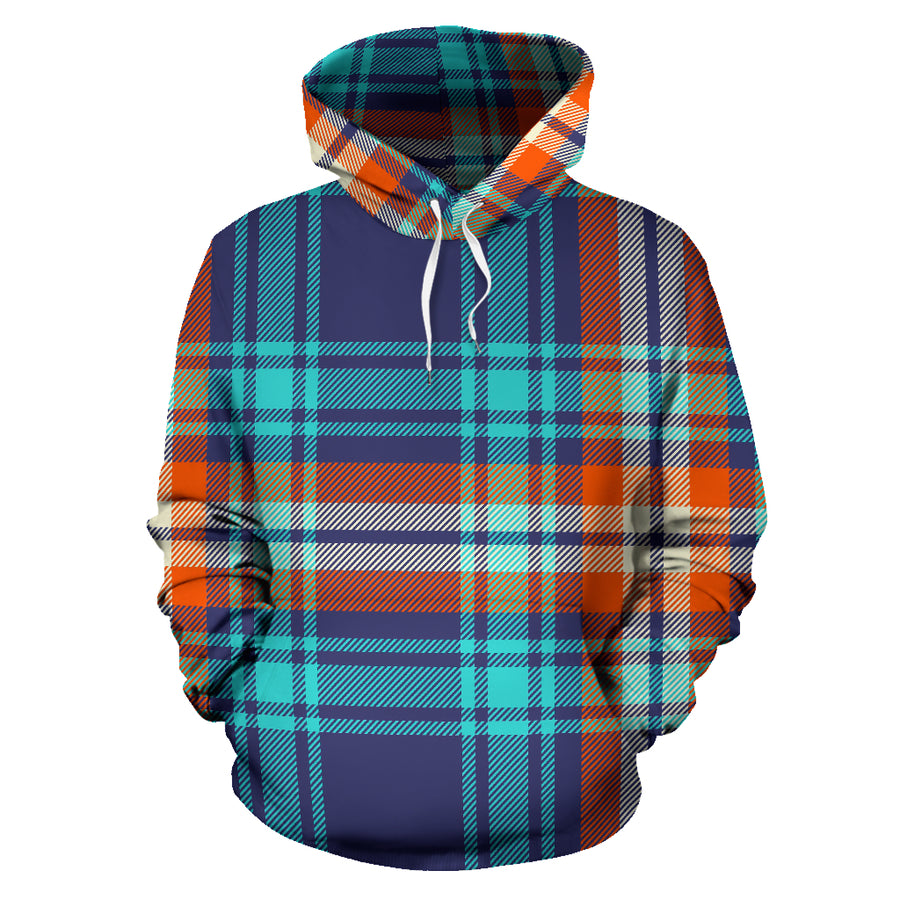 Blue Plaid Tartan Scottish Print Hoodie