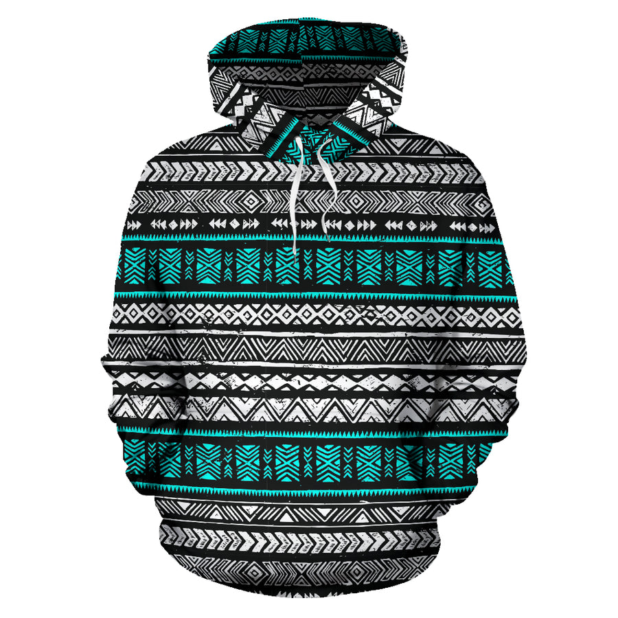 White and Turquoise Tribal Aztec Hand Drawn Hoodie