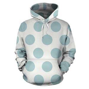 White And Turquoise Polka Dot Hoodie
