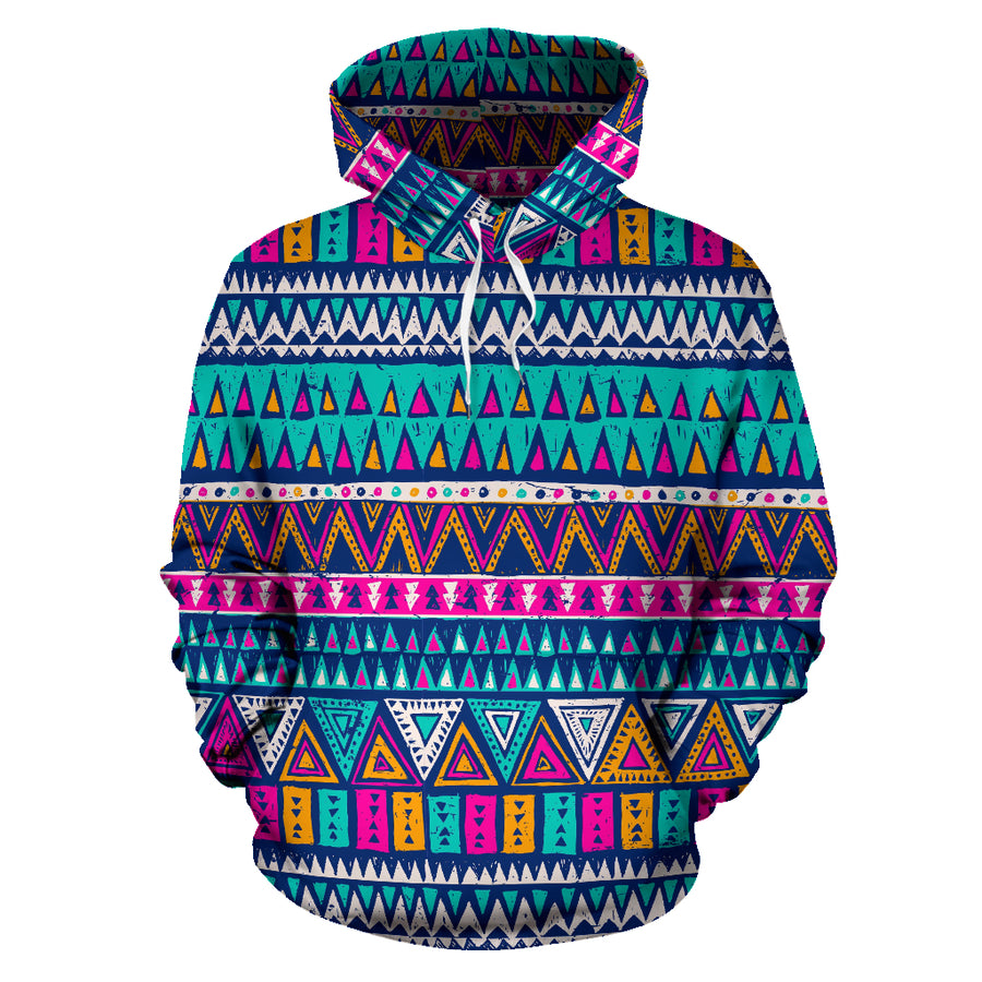 Multicolor Native Aztec Trippy Striped Hoodie