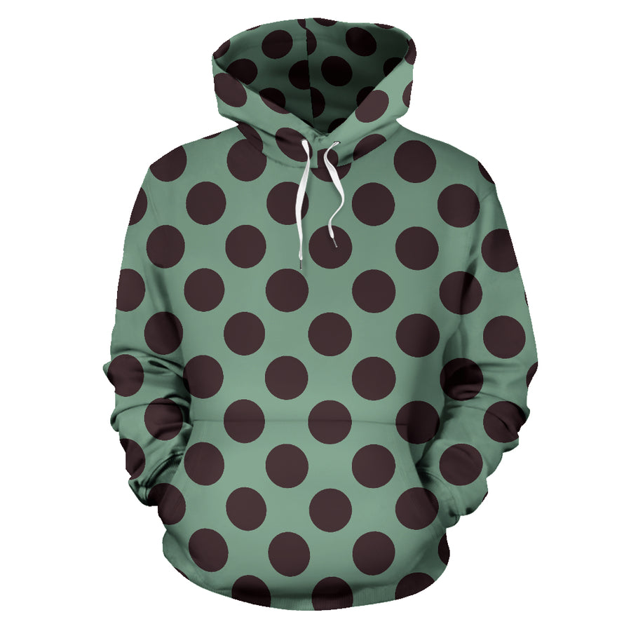 Green And Black Polka Dot Hoodie