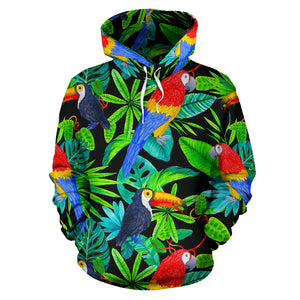 Tropical Bird Hawaiian Print Hoodie