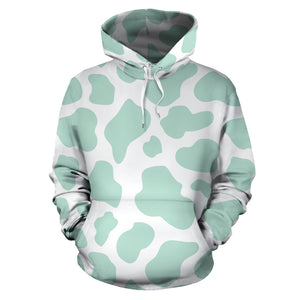 Teal And White Cow Print Hoodie