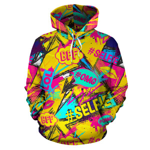 Abstract Comic Bubble Graffiti Print Hoodie