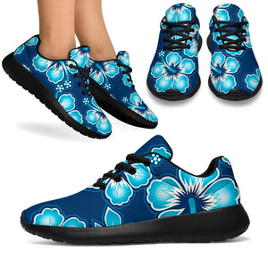 Blue Hibiscus Hawaiian Print Running Shoes