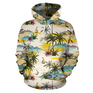 Tropical Palm Lead Island Print Hoodie