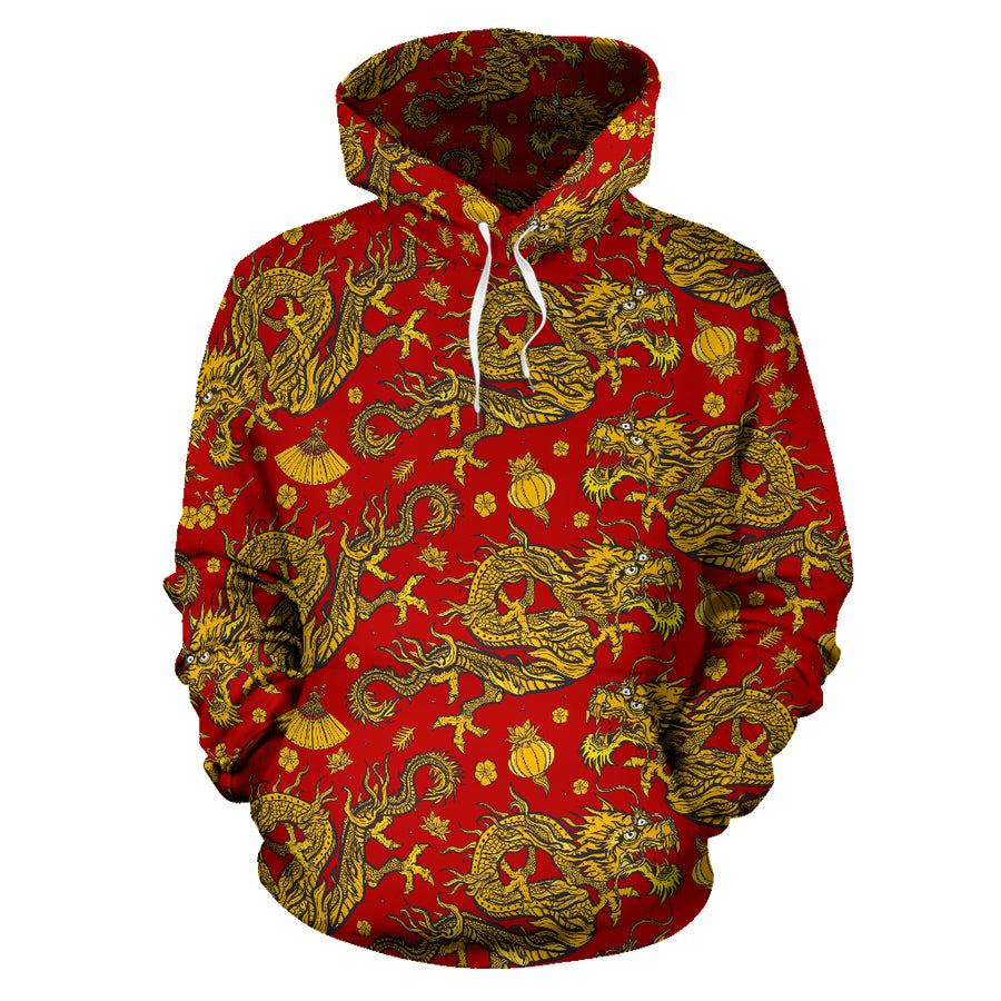Golden Chinese Dragon Floral Print Hoodie