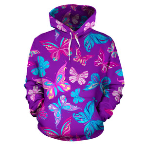 Blue And Pink Butterfly Print Hoodie