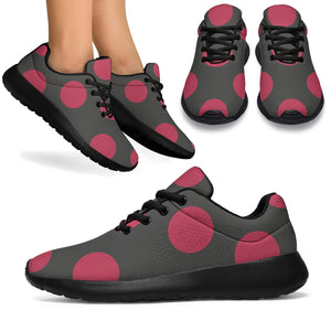 Black And Maroon Polka Dot Running Shoes